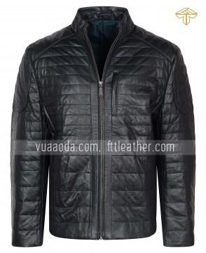 ÁO DA CỪU ĐEN TRẦN BÔNG - áo da nhập khẩu Hàn quốc - GD