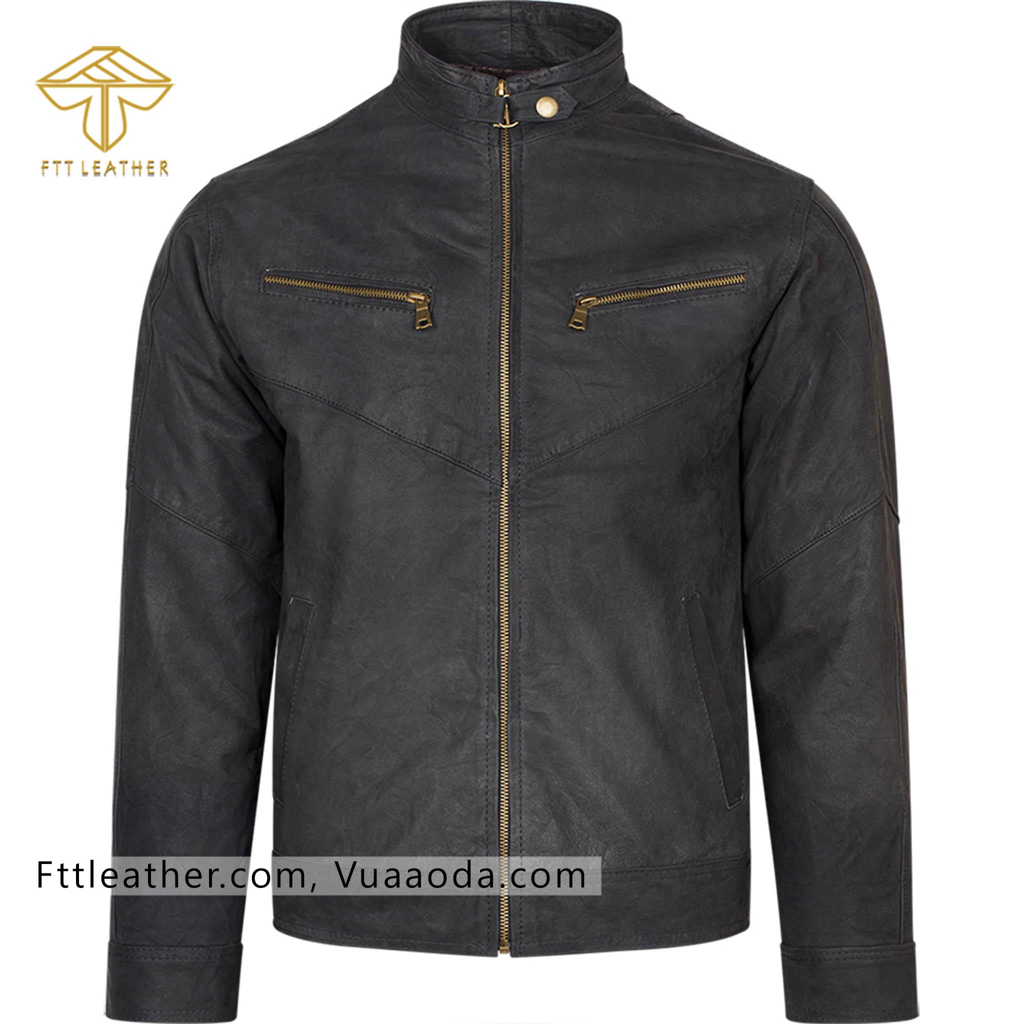 Áo da lộn đen, áo da nam - RE CR
