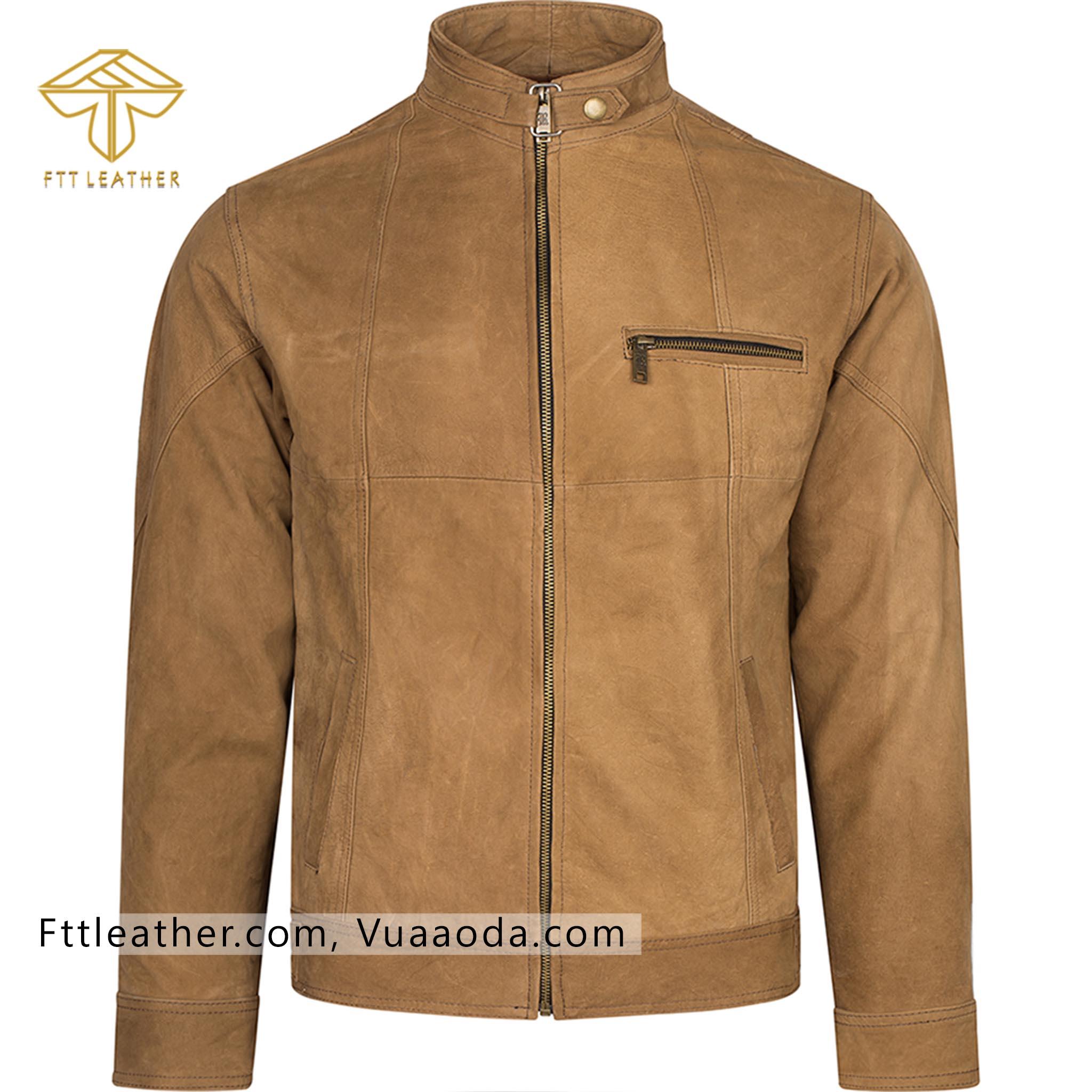 Áo da lộn màu vàng, áo khoác da nam hàn quốc - CR RE