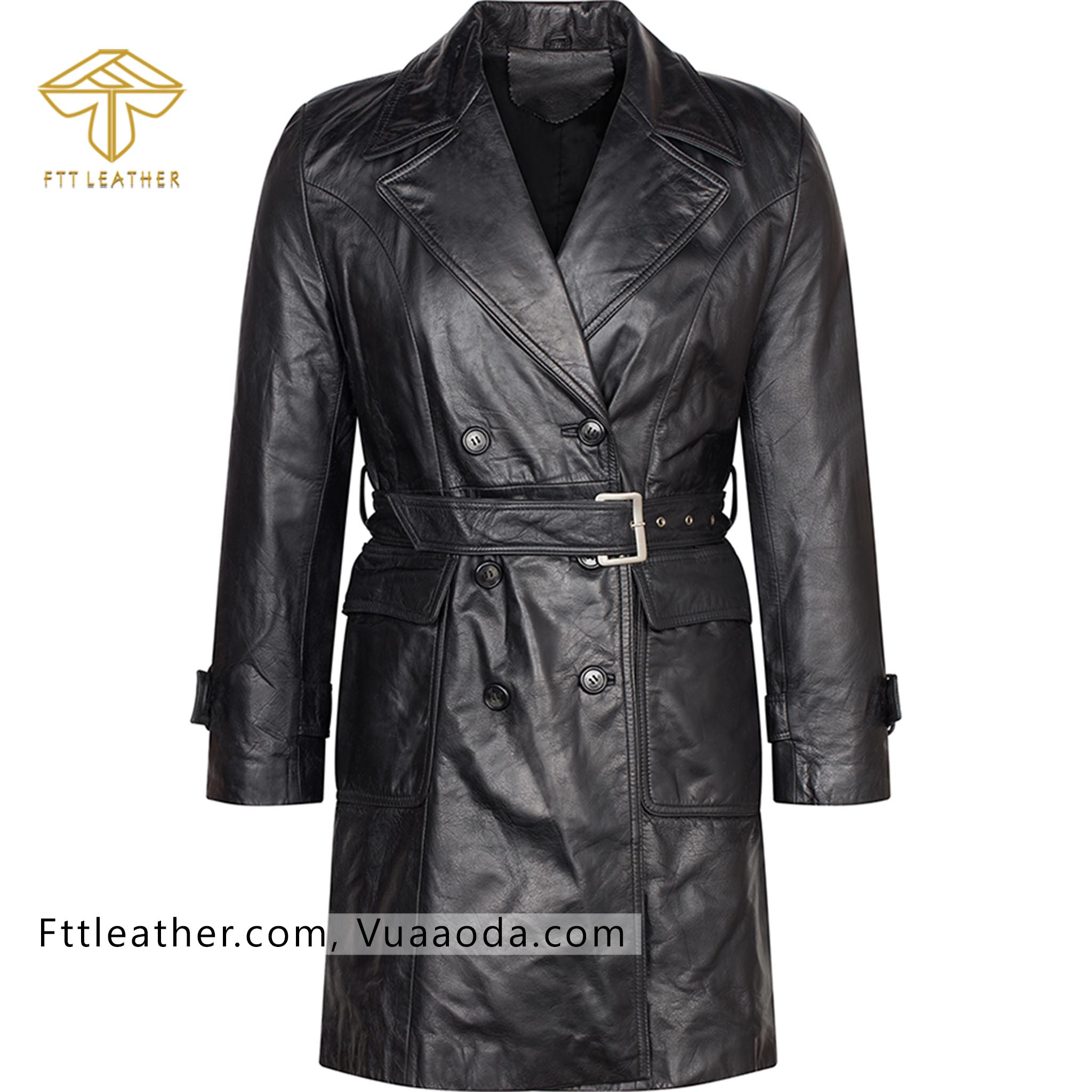 Áo da nữ, áo măng tô nữ màu đen - RE