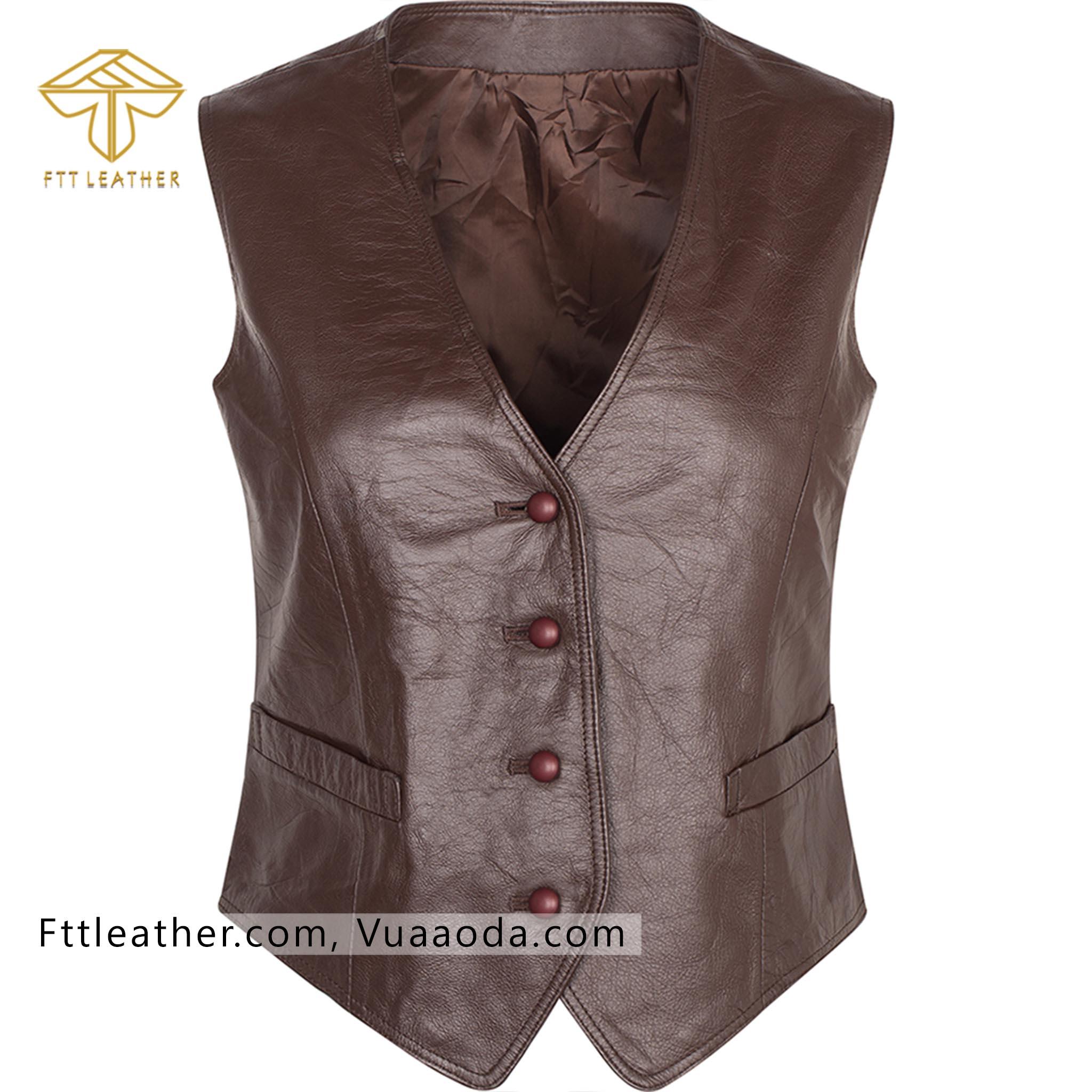 Áo Gilet da bò - áo da nữ màu hạt rẻ RE N2