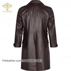 Áo da nữ, áo măng tô nữ màu hạt dẻ - RE