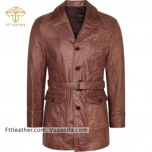 Áo da nữ, áo măng tô nữ màu nâu - RE
