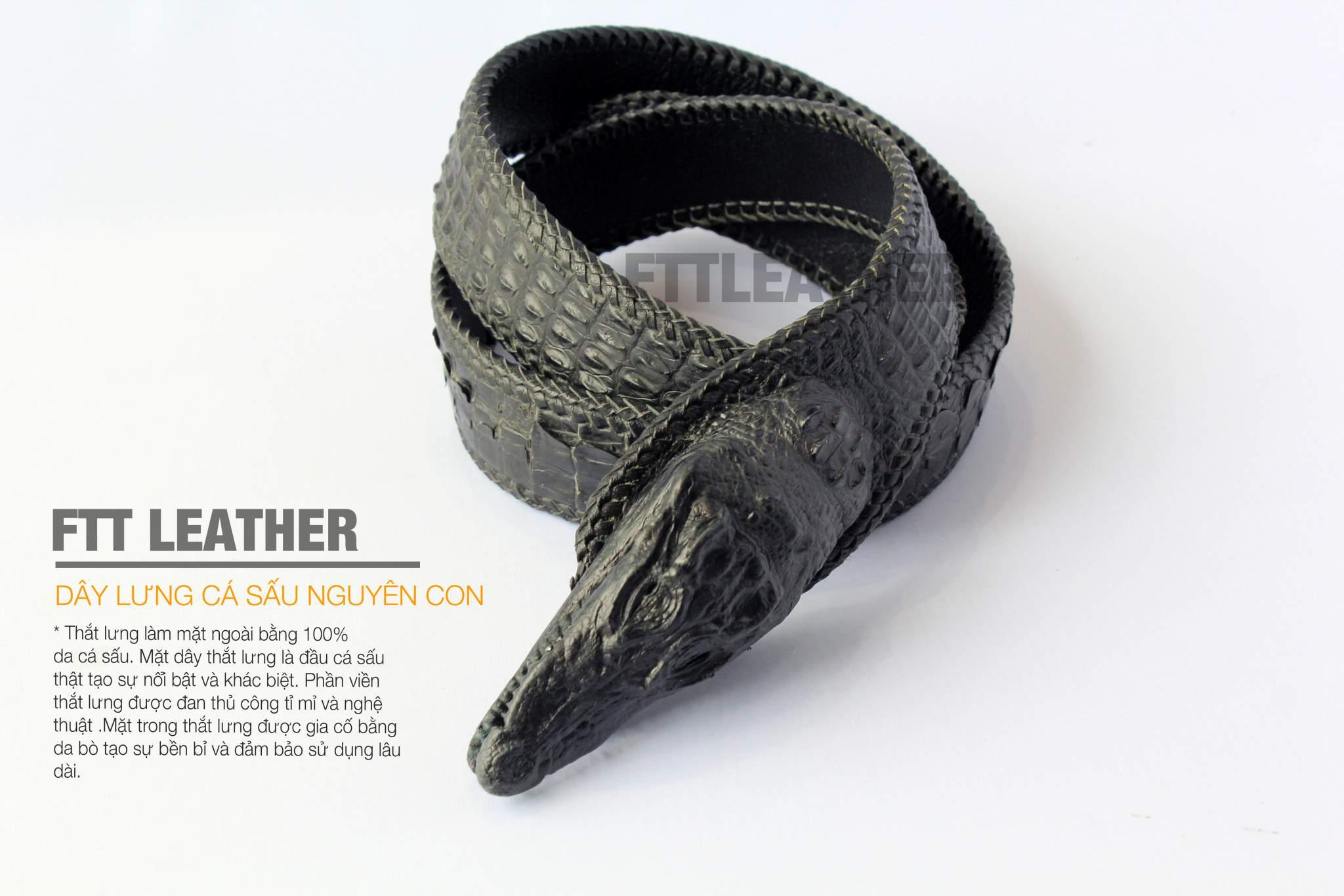 Dây lưng nam - dây lưng da cá sâu - Loại nguyên con- Màu đen