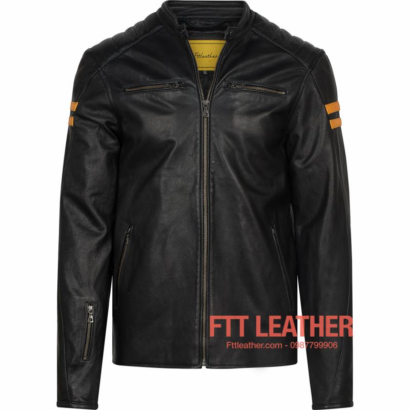 Áo da nam Motorcycle Jacket da dê - sọc vàng cam