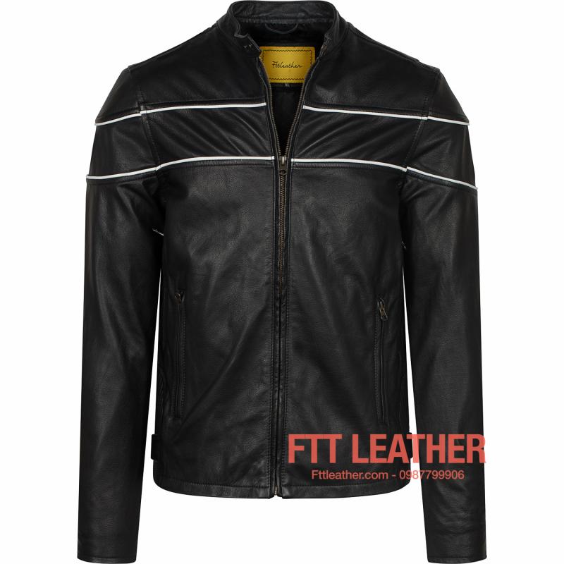 Áo da nam Motorcycle Jacket da dê - màu đen sọc trắng