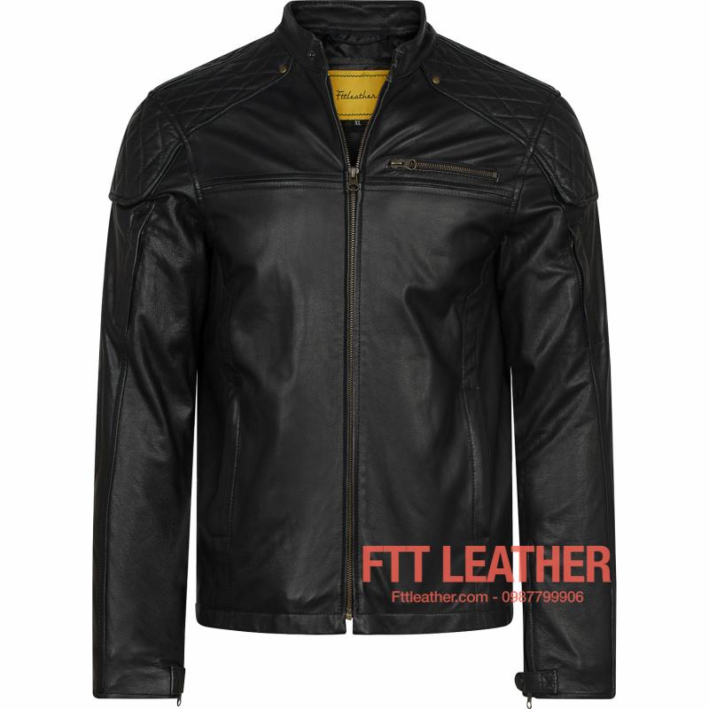 Áo da Motorcycle Jacket – Trám vai khóa trước ngực U5