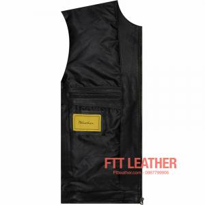 Áo da Motorcycle Jacket da dê - Màu đen 4 túi trước