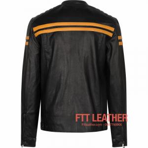 Áo da nam Motorcycle Jacket da dê - sọc vàng cam U5