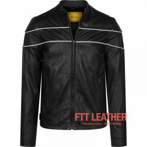 Áo da nam Motorcycle Jacket da dê - màu đen sọc trắng U7