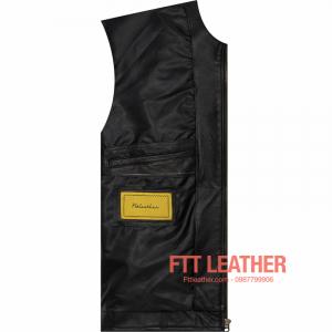 Áo da nam Motorcycle Jacket màu đen - sọc trắng dọc thân