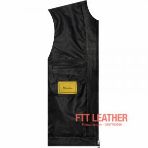 Áo da Motorcycle Jacket – Màu đen khóa trước ngực