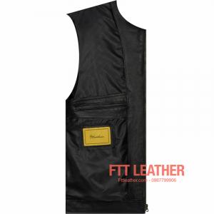 Áo da Motorcycle Jacket – Màu đen khóa kéo cổ tay