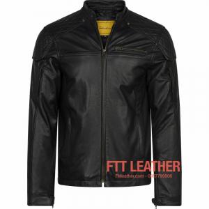 Áo da Motorcycle Jacket – Trám vai khóa trước ngực