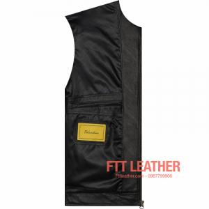 Áo da dê Motorcycle Jacket màu đen - U5