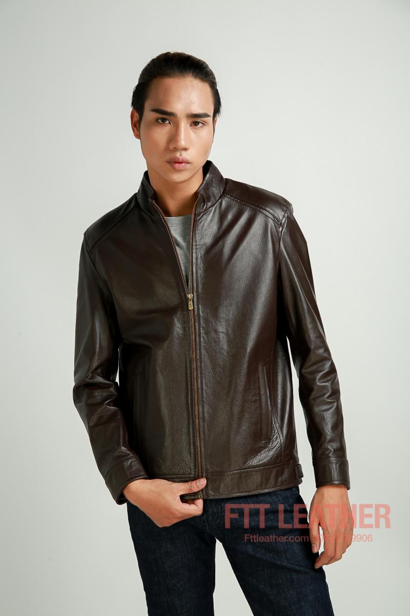 Áo da bò dáng trơn, áo da nam - FTT Leather