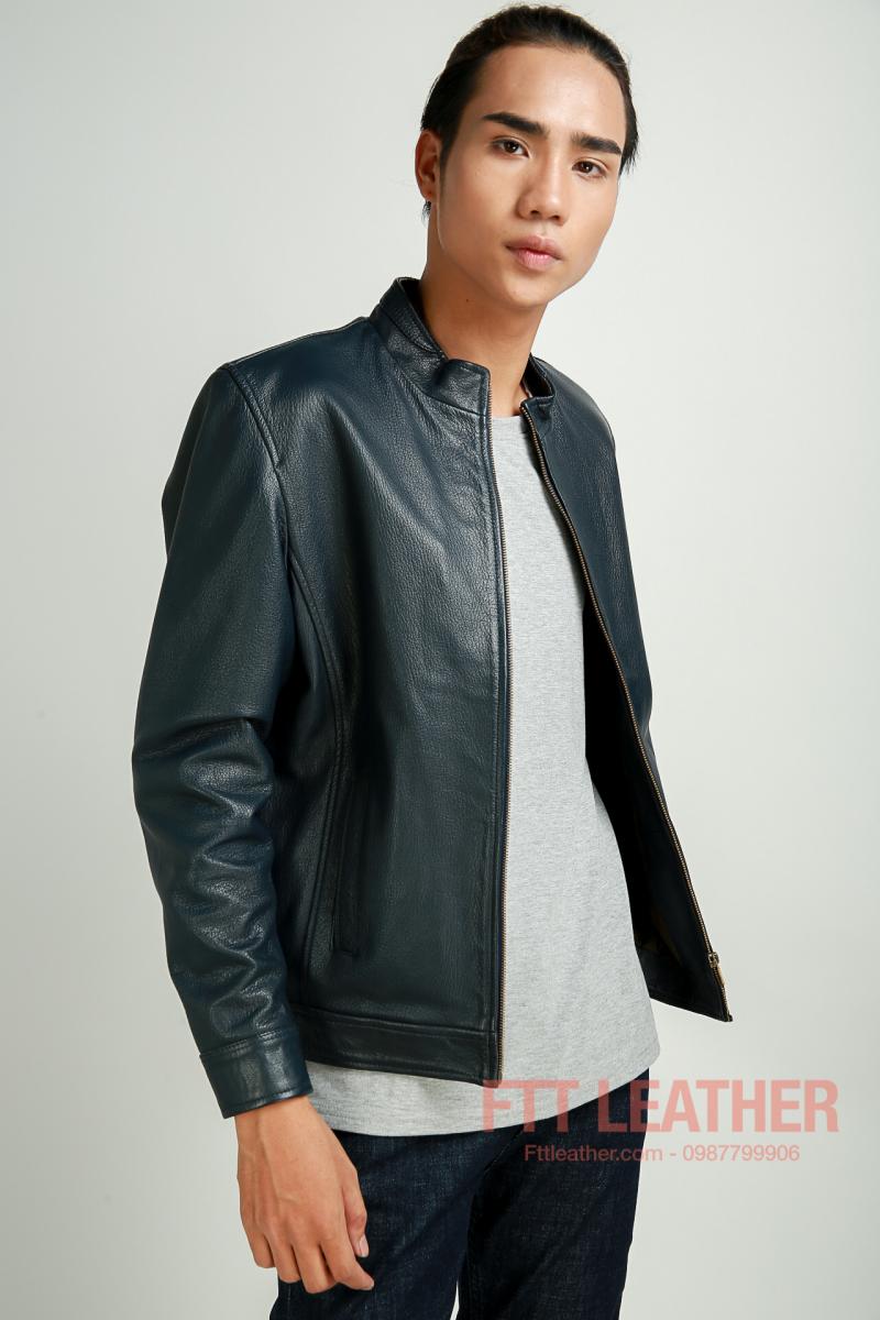 Áo da dê dáng trơn dành cho nam, màu xanh dương - FTT Leather