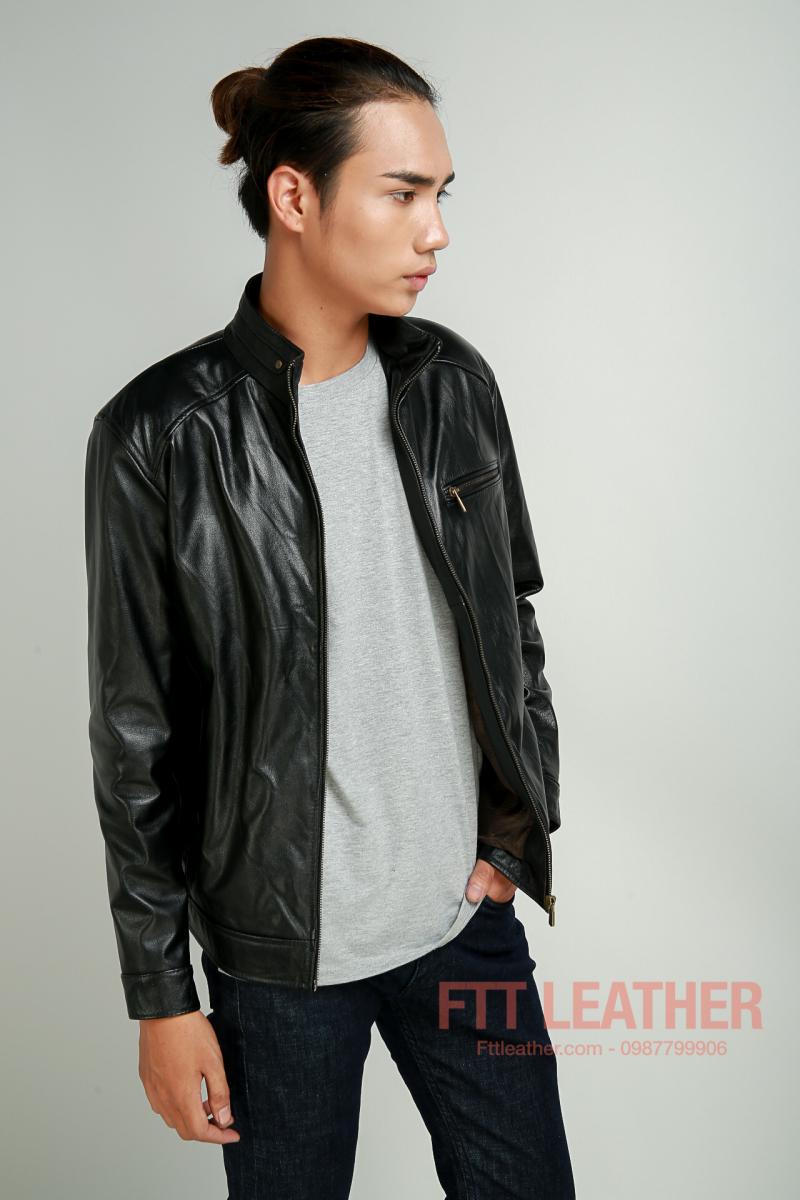 Áo da bò màu đen 1 khóa ngực, áo da dành cho nam - FTT LEatrher