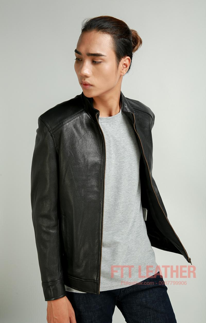 Áo da dê màu đen  dáng Racer, áo da thật - FTT Leather