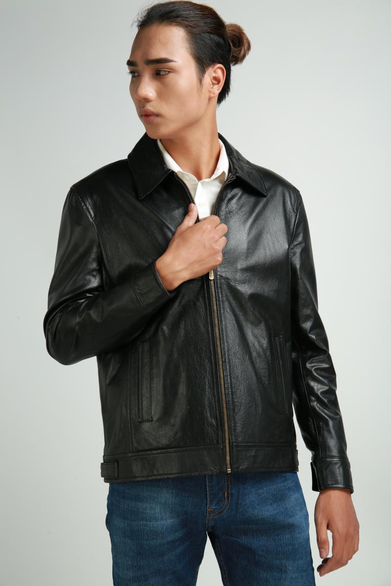 Áo da bò cổ bẻ màu đen, áo da thật - FTT Leather