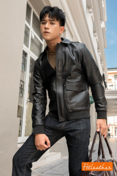 Pilot Leather Jacket - Áo da bomber Pilot da dê mã 101245BLPilot - 2018 - U5