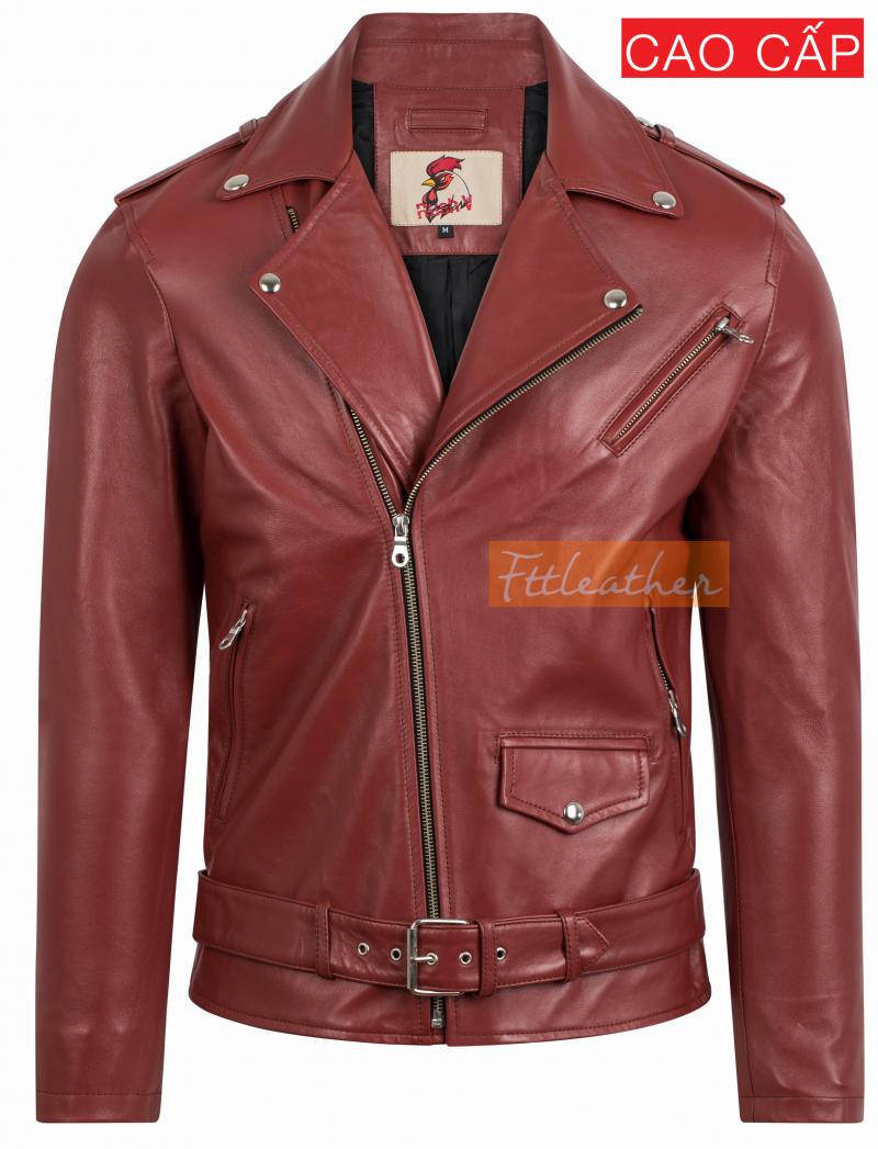 Classic Biker Jacket - Áo da cừu dáng Classic Biker Jacket Fttleather 2018 màu đỏ - U5