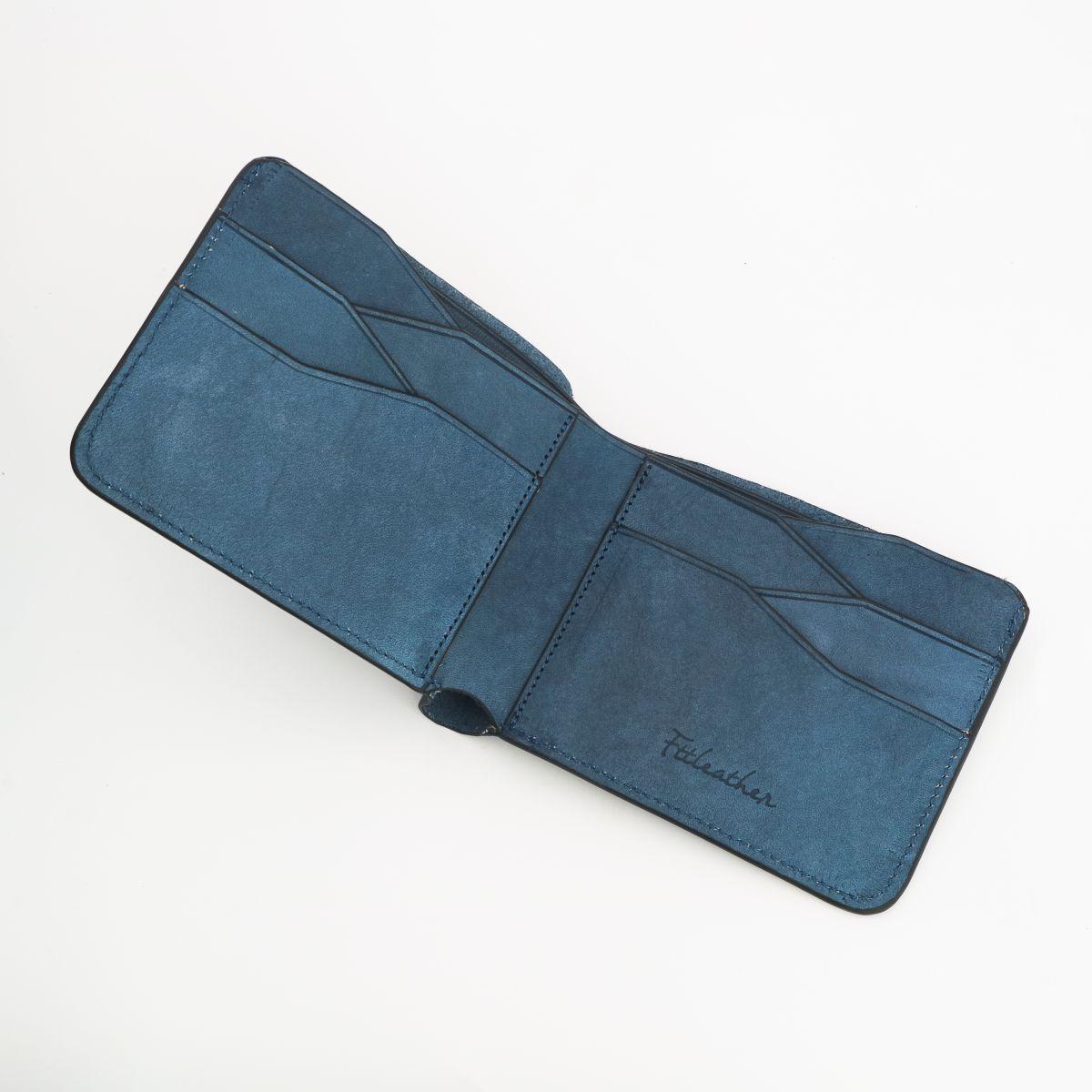 Ví da VEG màu xanh dương handmade mã V01010550NA