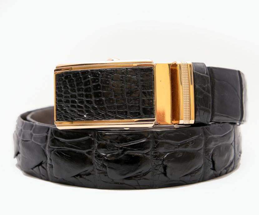 Thắt lưng nam da cá sấu đen mặt vàng (Cá sấu Việt,Cá sấu Thái nối,Cá sấu Thái liền)